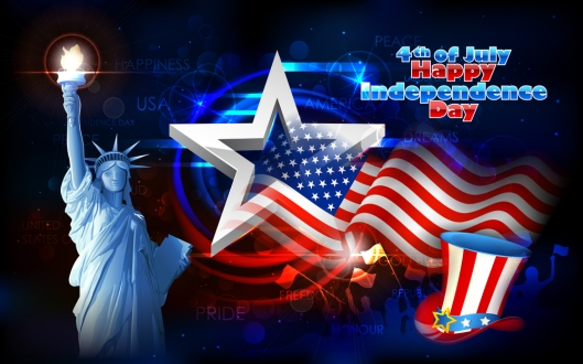 illustration of Statue of Liberty on American flag background fo